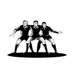 Rugby player forward pack in a scrum vector