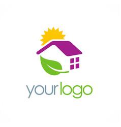 House solar panel energy logo vector