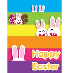 Funny happy easter card with bunnies vector