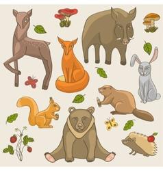 hand drawing animals set vector image