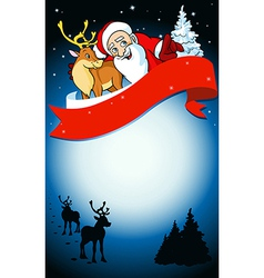 Merry christmas frame with santa reindeer and snow vector