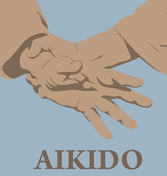 Capture of hands in aikido vector