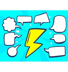 Yellow lightning with speech comics bubbl vector