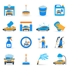 Car wash service icons set vector
