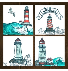 Lighthouse cards set vector