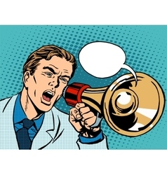 Man megaphone policy promotion vector