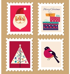Christmas and new year post stamps vector