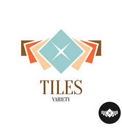 Tiles variety logo row of the color square tiles vector