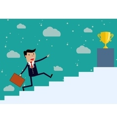 Businessman run up stairs vector