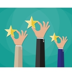 Hands of customers placing rating stars vector