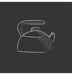 Kettle drawn in chalk icon vector