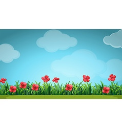 Scene with red flowers in the field vector