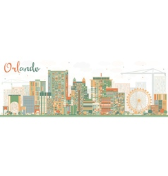 Abstract orlando skyline with color buildings vector