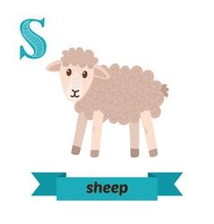 Sheep S letter Cute children animal alphabet in vector image