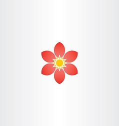 Abstract red flower stylized geometric icon vector