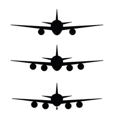 Airplane set in black color vector
