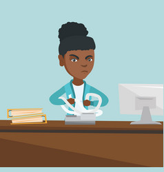 angry african accountant tearing bills or invoices vector image vector image