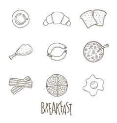 Breakfest hand drawn icon set over white vector image