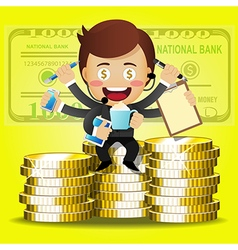 businessman with many arms and stack of big coins vector image vector image