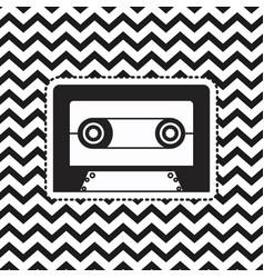 cassette sticker on pop art zig zag linear vector image