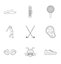 Championship golf icons set outline style vector