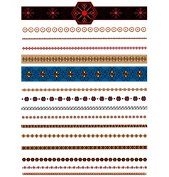 Collection of colored border and brushes for desig vector
