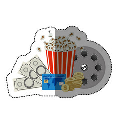 colorful sticker with popcorn cup and money and vector image vector image