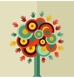 Colorful vintage hand tree circle vector image vector image
