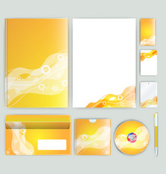 Corporate identity template with color elements vector
