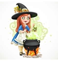 Cute little girl dressed as a witch throwing frog vector image vector image