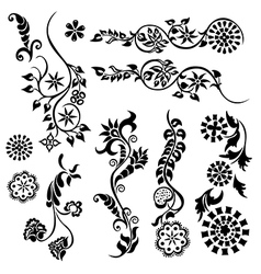 desing elements flower vector image vector image