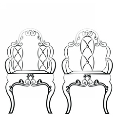 Elegant leather quilted chairs with ornaments vector