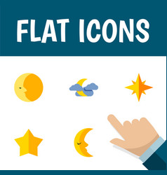 Flat icon midnight set of moon asterisk lunar vector