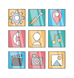 Flat set icon social media and app vector