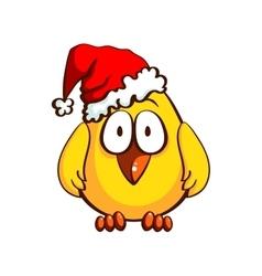 Funny Santa Chicken vector image vector image
