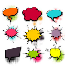 funny set colored comic speech bubbles vector image vector image