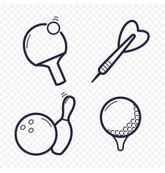 games linear icons ping-pong golf bowling darts vector image