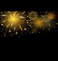gold fireworks on black background vector image
