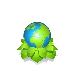 Green earth with leaves vector