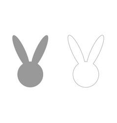Hare or rabbit head grey set icon vector