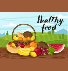 Healthy food poster with rural landscape vector