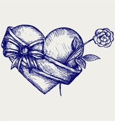 Heart with ribbon and flower vector image