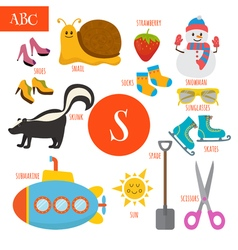 Letter S Cartoon alphabet for children Submarine vector image vector image