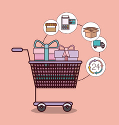 light pink background with shopping cart full of vector image vector image