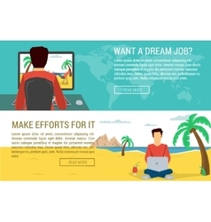 Man dreaming another man working at nice place vector image