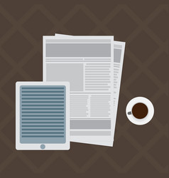 Newspaper and tablet vector
