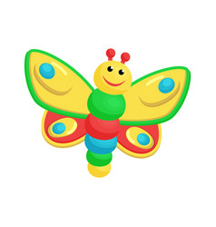 picture with colorful toy of laughing butterfly vector image