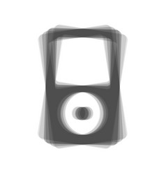 Portable music device gray icon shaked at vector