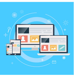 Responsive web design including laptop desktop vector