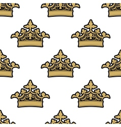 Seamless pattern of golden royal crowns vector